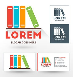 Logo template stack of books logo for bookshop or vector