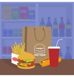 Banner with fast food with cola hamburger and vector