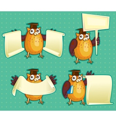 Wise owls with blank sign copy space for own text vector