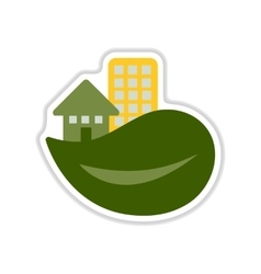 Paper sticker on white background eco house vector