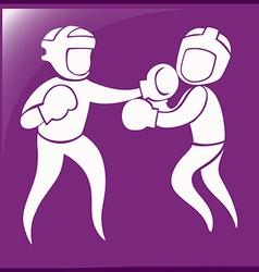 Sport icon design for boxing on purple background vector