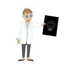 doctor shows a picture of a skull vector image