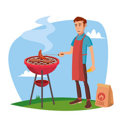 bbq cooking classic american smiling man vector image vector image