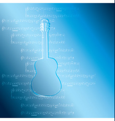 Blue gradient background with guitar and music vector
