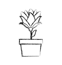 Blurred silhouette bud flower in pot vector
