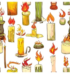 Candle sketch seamless pattern vector