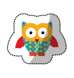 Color stamp owl icon vector