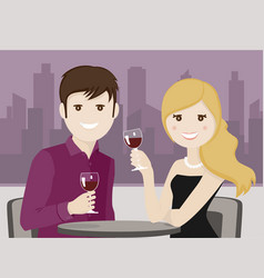 Couple of lovers toasting in a restaurant vector