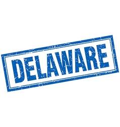 Delaware blue square grunge stamp on white vector