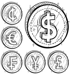 doodle currency coin set vector image