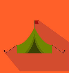 Flat and cartoon tent with flag hunting season vector