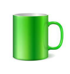 green ceramic mug vector image