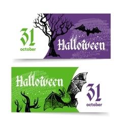 Halloween banners set Hand drawn sketch vector image vector image