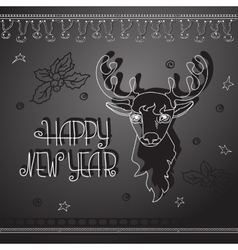 Hand drawn christmas deer and handwritten words vector