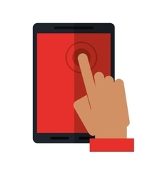 Hand touch smartphone display digital vector