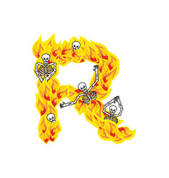 Letter r hellish flames and sinners font fiery vector