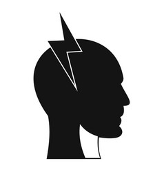 Lightning bolt inside head icon simple style vector