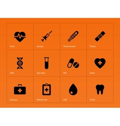 Medical icons on orange background vector