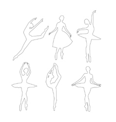 Outline ballerinas set vector
