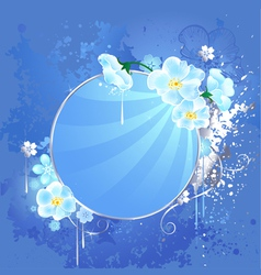 round banner with white flowers vector image vector image