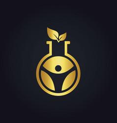 Science laboratory gold leaf logo vector