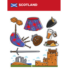 scotland travel destination promotional poster vector image vector image