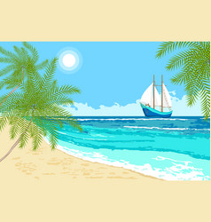 Sea with sailboat and palms branches vector
