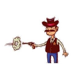 sheriff fires his gun vector image vector image