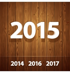 Simple 3d 2015 on wooden background vector