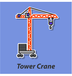 Tower crane color flat icon vector