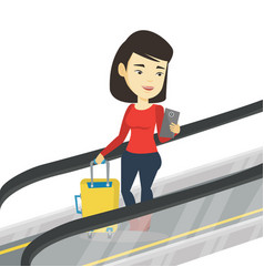 Woman using smartphone on escalator in airport vector