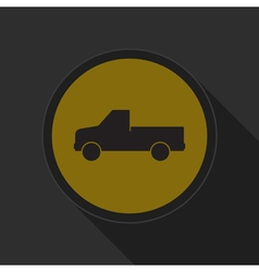 Yellow round button - pickup with a flatbed icon vector