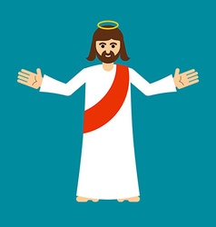 Jesus christ is son of god isolated holy man open vector