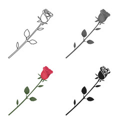 Rose icon in cartoon style isolated on white vector
