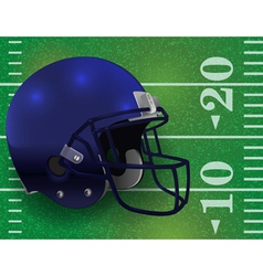 American football helmet on lined field vector