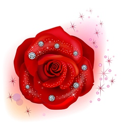 Red macro rose with diamonds vector