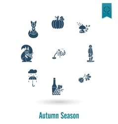 Set of flat autumn icons vector