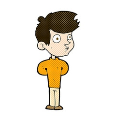 Comic cartoon boy staring vector