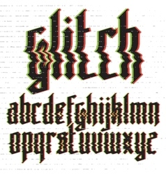 Glitch distortion gothic font vector