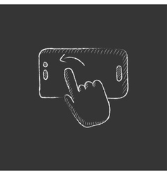 Finger touching smartphone drawn in chalk icon vector