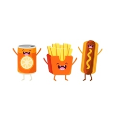 Fries hot dog and soda cartoon friends vector