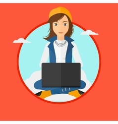 Woman using cloud computing technology vector
