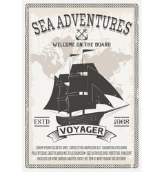 Nautical grey poster vector