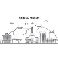 Arizona phoenix architecture line skyline vector
