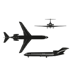 Black airplane silhouette on a white background vector