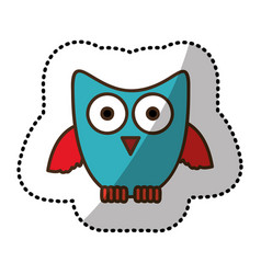 Blue stylized owl icon vector