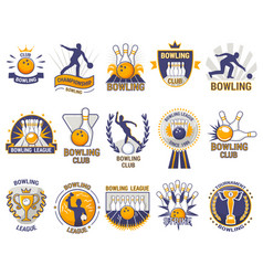 Bowling logo bowler sport game with alley vector