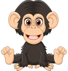 Cartoon funny baby chimpanzee sitting isolated vector image vector image