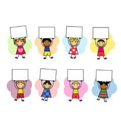 Cartoon kids with placards in their hands vector