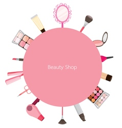 Cosmetic And Hair Salon Equipments Round Frame vector image vector image